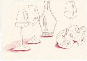 Tagebucheintrag 25.02.2021, Dekameron, An der Tafel wurde gelacht, Version 2, 20 x 15 cm, Buntstift und Tinte auf Silberburg Büttenpapier, Zeichnung von Susanne Haun (c) VG Bild-Kunst, Bonn 2021