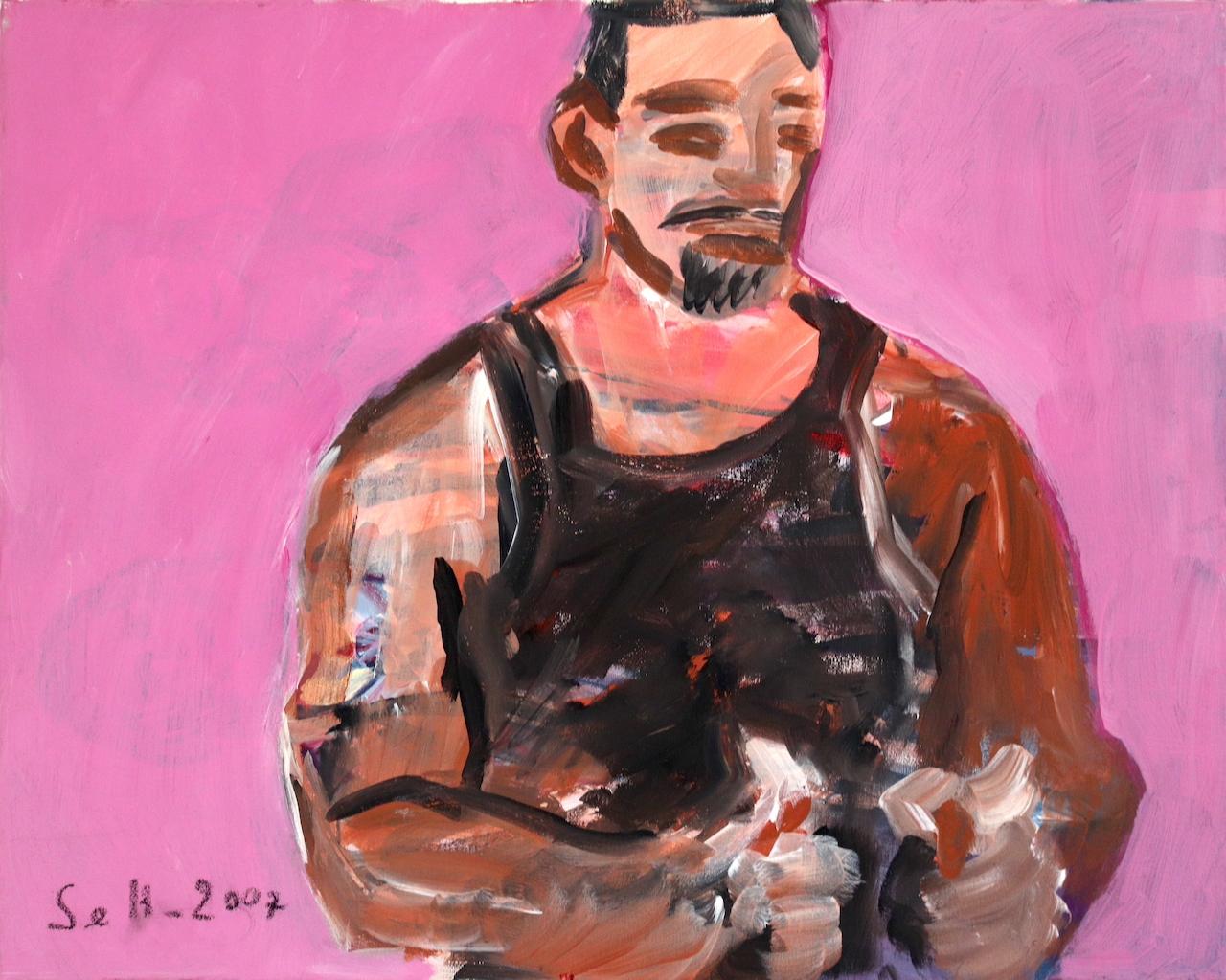 Muskelman in Rosa Pink, Gemälde von Susanne Haun (c) VG Bild-Kunst, Bonn 2021