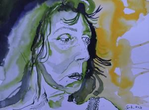 Kritisches Selbst, 30 x 40 cm, Tusche auf Aqarellkarton, Zeichnung von Susanne Haun (c) VG Bild-Kunst, Bonn 2021