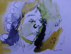 Freundlicheres Selbst, 30 x 40 cm, Tusche auf Aqarellkarton, Zeichnung von Susanne Haun (c) VG Bild-Kunst, Bonn 2021