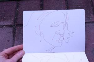 Selbst im Skizzenbuch mit Füller gezeichnet, Susanne Haun (c) VG Bild-Kunst, Bonn 2021