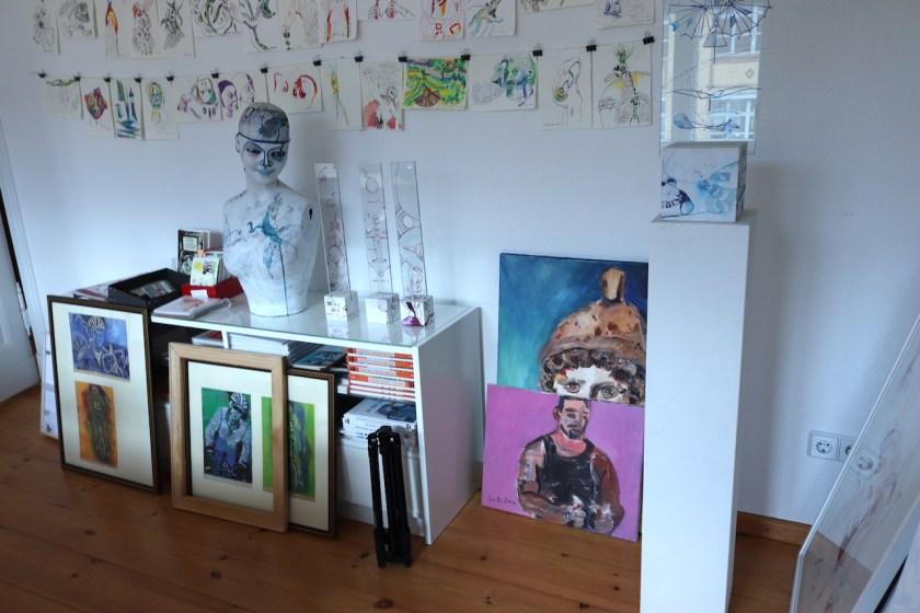 Detail Muskelman in Rosa Pink, Gemälde von Susanne Haun (c) VG Bild-Kunst, Bonn 2021.