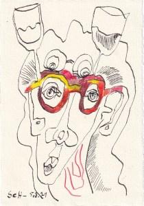 Tagebucheintrag 05.03.2021, Durch die Brille gesehen, 20 x 15 cm, Tinte und Buntstift auf Silberburg Büttenpapier, Zeichnung von Susanne Haun (c) VG Bild-Kunst, Bonn 2021