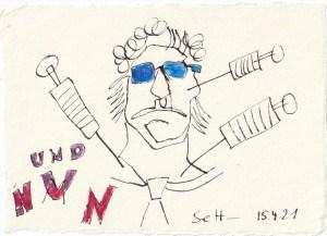 Tagebucheintrag 15.04.2021, Nachrichten, V1, 20 x 15 cm, Tinte und Buntstift auf Silberburg Büttenpapier, Zeichnung von Susanne Haun (c) VG Bild-Kunst, Bonn 2021