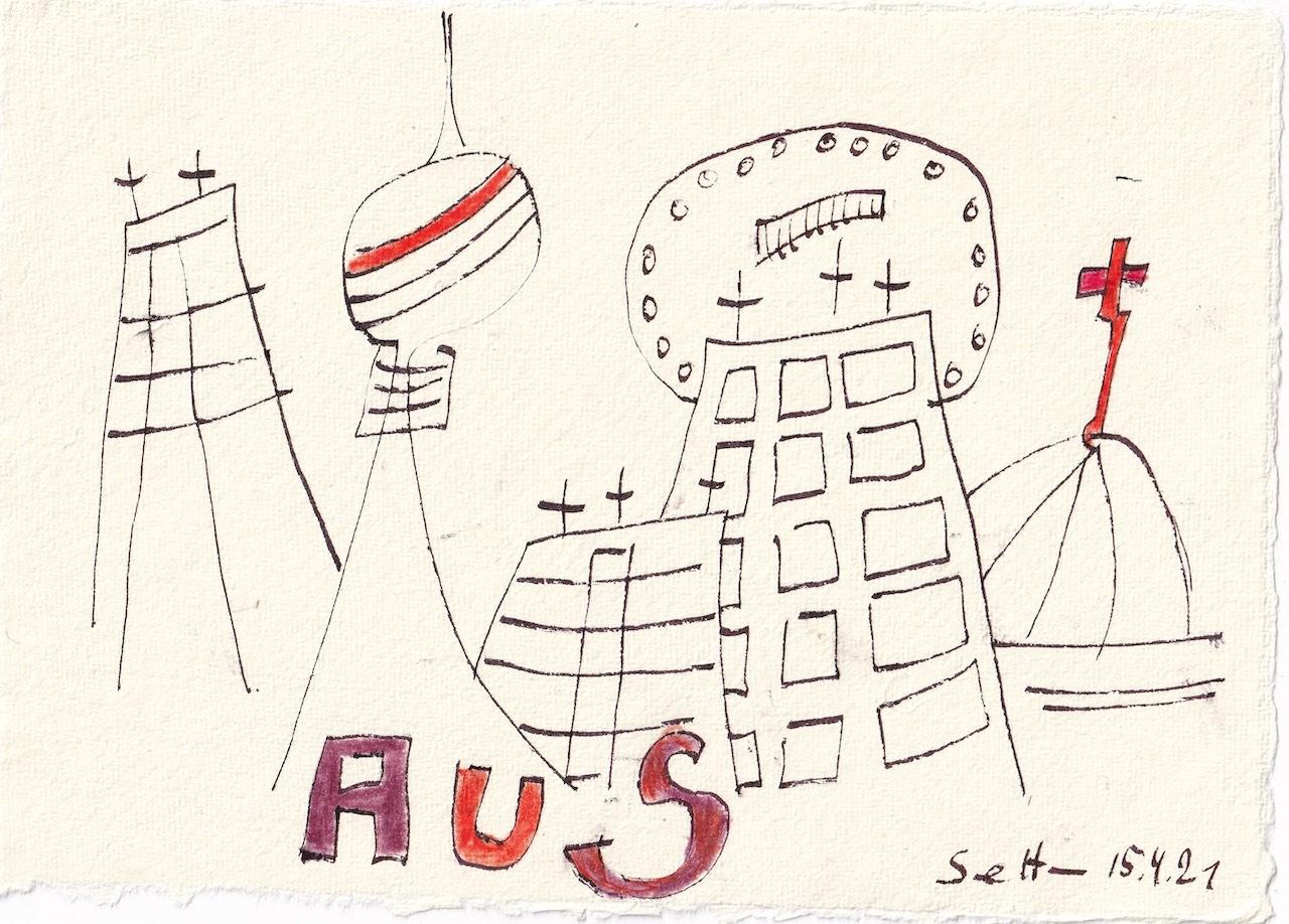 Tagebucheintrag 15.04.2021, Nachrichten, V2, 20 x 15 cm, Tinte und Buntstift auf Silberburg Büttenpapier, Zeichnung von Susanne Haun (c) VG Bild-Kunst, Bonn 2021