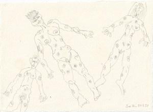Tagebucheintrag 21.04.2021, Blümchen Akte ,20 x 15 cm, Tinte und Buntstift auf Silberburg Büttenpapier, Zeichnung von Susanne Haun (c) VG Bild-Kunst, Bonn 2021