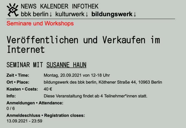 bbk Bildungswerk Veröffentlichen und Verkaufen im Internet, Dozentin Susanne Haun
