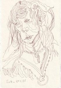 Tagebucheintrag 29.04.2021, Judithsm Blick, V2, 20 x 15 cm, Tinte und Buntstift auf Silberburg Büttenpapier, Zeichnung von Susanne Haun (c) VG Bild-Kunst, Bonn 2021