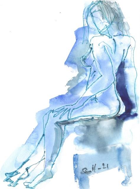 Der Körper zählt - Akt - , Aquarell von Susanne Haun (c) VG Bild-Kunst, Bonn 2021