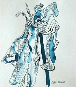 Alles schöne verwelkt - Tulpe, Tusche auf Aquarellkarton, 32 x 24 cm, Zeichnung von Susanne Haun (c) VG Bild-Kunst, Bonn 2021