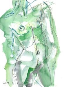 Torso in grün - Akt - , Aquarell von Susanne Haun (c) VG Bild-Kunst, Bonn 2021