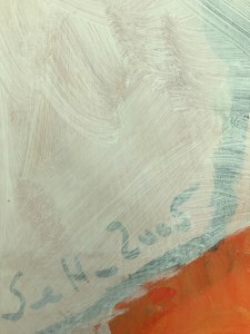 Übermalung des Gladiators, 148 x 42,5 cm, Acryl auf Leinwand, Gemälde von Susanne Haun (c) VG Bild-Kunst, Bonn 2021
