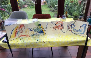 Leporello nach Nach Aitutaki Blues - A5, Aquarell von Susanne Haun (c) VG Bild-Kunst, Bonn 2021