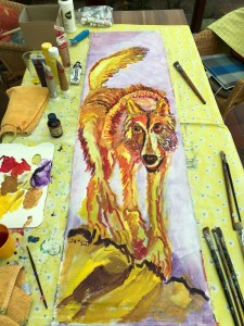 Entstehung, Der Wolf, einsamer Jäger, 148 x 42,5 cm, Acryl auf Leinwand, Gemälde von Susanne Haun (c) VG Bild-Kunst, Bonn 2021