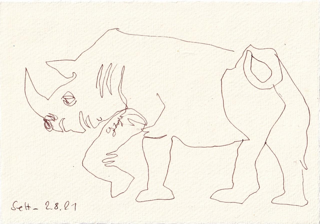 Tagebucheintrag 02.08.2021, Freundliches Nashorn, Version 1, 20 x 15 cm, Tinte auf Silberburg Büttenpapier, Zeichnung von Susanne Haun (c) VG Bild-Kunst, Bonn 2021