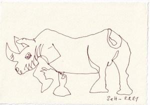 Tagebucheintrag 02.08.2021, Freundliches Nashorn, Version 2, 20 x 15 cm, Tinte auf Silberburg Büttenpapier, Zeichnung von Susanne Haun (c) VG Bild-Kunst, Bonn 2021