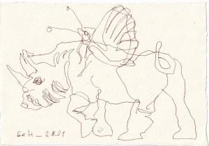 Tagebucheintrag 02.08.2021, Nashorn trifft Schmetterling, 20 x 15 cm, Tinte auf Silberburg Büttenpapier, Zeichnung von Susanne Haun (c) VG Bild-Kunst, Bonn 2021