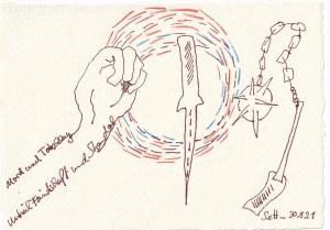 Tagebucheintrag 31.08.2021, Dekameron, Der schlechteste Mensch, 20 x 15 cm, Buntstift und Tinte auf Silberburg Büttenpapier, Zeichnung von Susanne Haun (c) VG Bild-Kunst, Bonn 2021