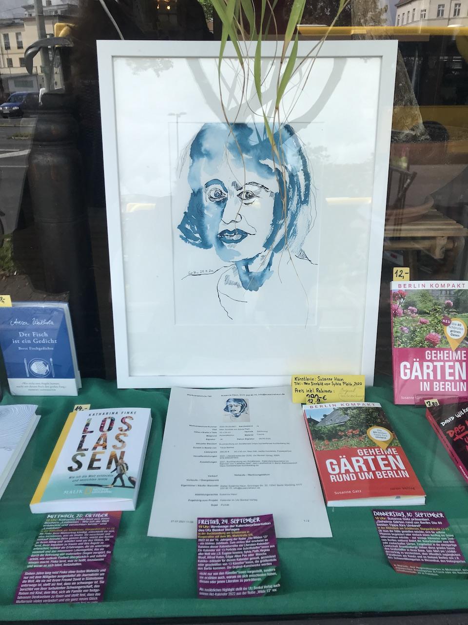 Schaufenster Buchhandlung am Schäfersee, Zeichnung von Susanne Haun, Sylvia Plath