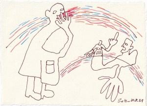 Tagebucheintrag 30.08.2021, Dekameron, Der schlechteste Mensch, Version 2, 20 x 15 cm, Buntstift und Tinte auf Silberburg Büttenpapier, Zeichnung von Susanne Haun (c) VG Bild-Kunst, Bonn 2021