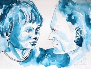 2021 08 28 - Doppelporträt Volker und Christiane, 30 x 40 cm, Tusche auf Aquarellkarton, Zeichnung von Susanne Haun (c) VG Bild-Kunst, Bonn 2021.