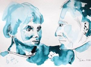 2021 09 07 - Doppelporträt Volker und Christiane, 30 x 40 cm, Tusche auf Aquarellkarton, Zeichnung von Susanne Haun (c) VG Bild-Kunst, Bonn 2021.JPG
