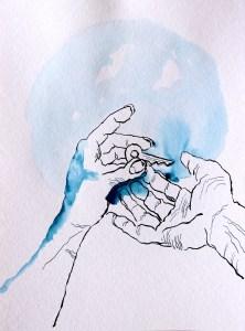 3 Belonging, Serie, Version 1, 32 x 24 cm, Tusche auf Aquarellkarton, Zeichnung von Susanne Haun (c) VG Bild-Kunst, Bonn 2021