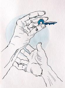 5 Belonging, Serie, Version 3, 32 x 24 cm, Tusche auf Aquarellkarton, Zeichnung von Susanne Haun (c) VG Bild-Kunst, Bonn 2021