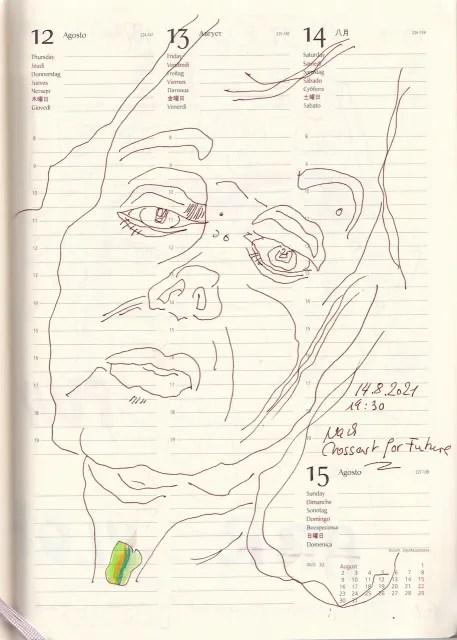 Selbstbildnisstagebuch 26.7. – 15.9.2021, Zeichnung von SusanneHaun (c) VG-Bild-Kunst Bonn 2021