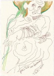 Tagebucheintrag 17.09.2021, Gibt es heute noch Hochzeiten?, 20 x 15 cm, Buntstift und Tinte auf Silberburg Büttenpapier, Zeichnung von Susanne Haun (c) VG Bild-Kunst, Bonn 2021