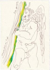 Tagebucheintrag 18.09.2021, Such mich, ich bin ein Engel, 20 x 15 cm, Buntstift und Tinte auf Silberburg Büttenpapier, Zeichnung von Susanne Haun (c) VG Bild-Kunst, Bonn 2021