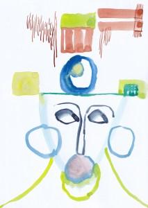 Gesichter der Stadt - Nr. 3, Aquarell von Susanne Haun auf lona Jet, 300 gqm (c) VG Bild-Kunst, Bonn 2021