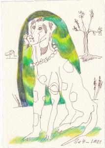 Tagebucheintrag 01.10.2021, Warten auf ..., 20 x 15 cm, Buntstift und Tinte auf Silberburg Büttenpapier, Zeichnung von Susanne Haun (c) VG Bild-Kunst, Bonn 2021