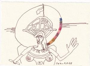 Tagebucheintrag 09.10.2021, Unser Schiff geht unter, 20 x 15 cm, Buntstift und Tinte auf Silberburg Büttenpapier, Zeichnung von Susanne Haun (c) VG Bild-Kunst, Bonn 2021