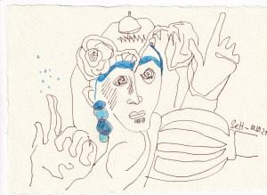 Tagebucheintrag 10.10.2021, Pass auf Bim Bam, 20 x 15 cm, Buntstift und Tinte auf Silberburg Büttenpapier, Zeichnung von Susanne Haun (c) VG Bild-Kunst, Bonn 2021