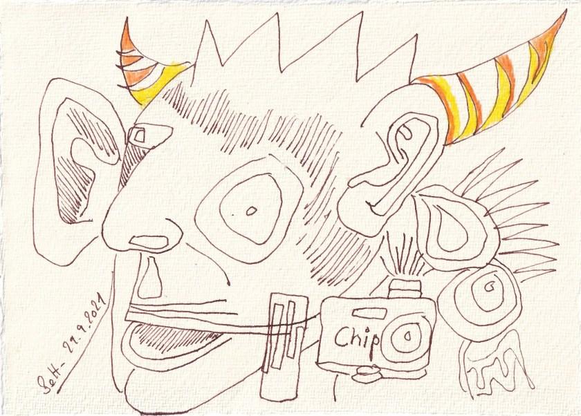 Tagebucheintrag 29.09.2021, Chipmangel, 20 x 15 cm, Buntstift und Tinte auf Silberburg Büttenpapier, Zeichnung von Susanne Haun (c) VG Bild-Kunst, Bonn 2021