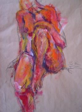 2002 Roter Akt Acryl und Ölkreide auf Papier (c) Zeichnung von Susanne Haun