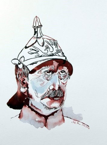Portrait Bismarck - Version 1 - 40 x 30 cm - Tusche auf Aquarellkarton Britannia (c) Zeichnung von Susanne Haun