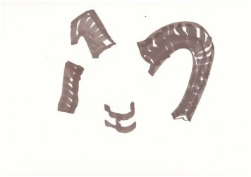 Flächiger Widder - 1. Schritt (c) Zeichnung von Susanne Haun