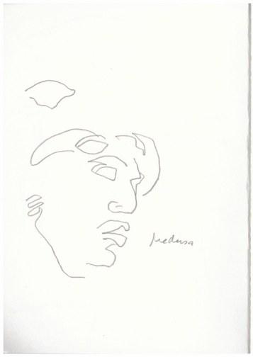 Medusa Abgusssammlung antiker Plastik in der Gemäldegalerie Dresden (c) Zeichnung von Susanne Haun