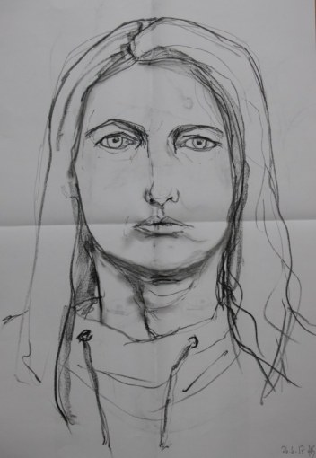 Selbstportrait Heike Schnittker - 43 x 60 cm - Kohle (c) Heike Schnittker