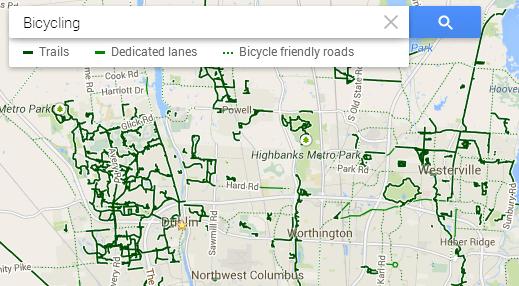 Dublin bike trails in Google Maps
