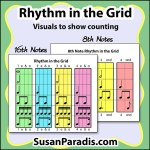 Rhythm in the Grid is a set of posters showing the relationship of rhythms in a easy to read chart.