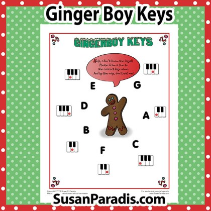 Gingerbread Boy Piano Worksheet