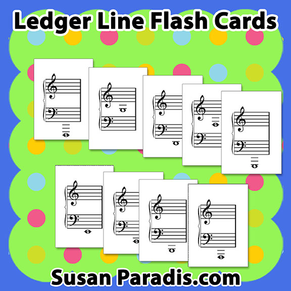 image relating to Piano Flash Cards Printable identify Ledger Line Flash Playing cards - Susan Paradis Piano Education Supplies