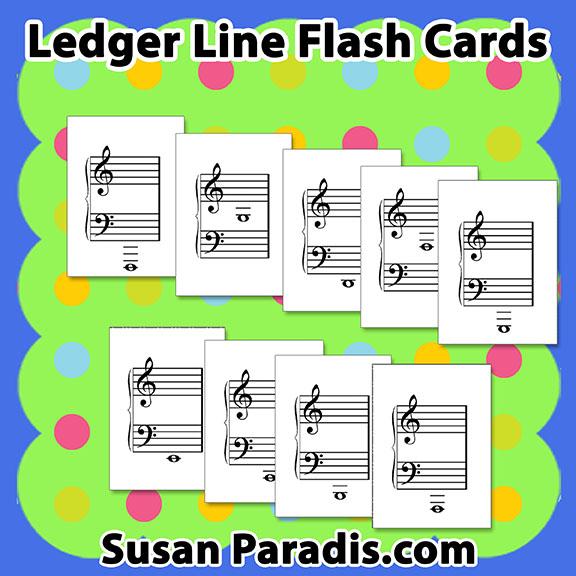 image regarding Printable Music Flashcards identify Ledger Line Flash Playing cards - Susan Paradis Piano Instruction Supplies