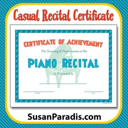 Casual Recital Certificate