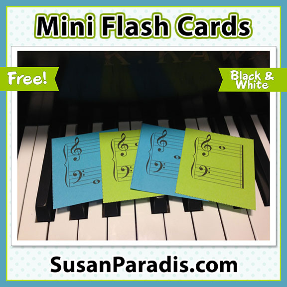 image about Piano Flash Cards Printable identified as Mini Flash Playing cards - Susan Paradis Piano Education Products