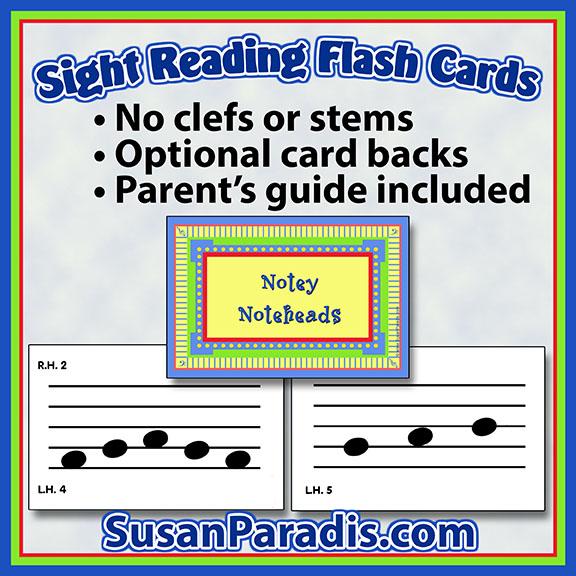 Sight reading flash cards