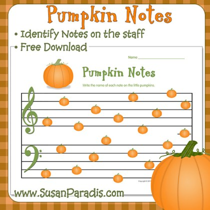 Write Note Names on the Pumpkins